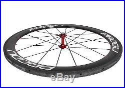 50mm Tubular Carbon Wheel Novatec 700C Road Bike 3k Glossy 21mm Rim white 11s