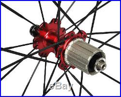 56mm Tubular Carbon Wheel Novatec 700C Road Bike 3k Glossy 21mm Rim white 11s