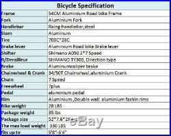 Lightweight Aluminium Road Bike 54cm Racing Bicycle Shimano 14 Speed 700C Mens